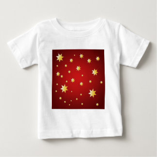 Christmas sparkling stars on red baby T-Shirt