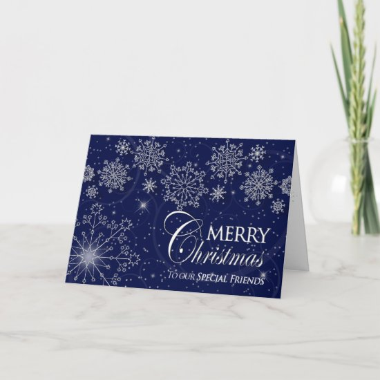 CHRISTMAS - SPECIAL FRIENDS - SNOWFLAKES/NAVY HOLIDAY CARD