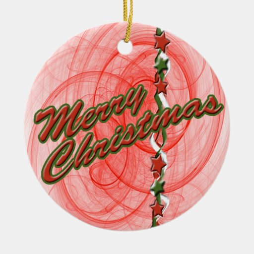 Christmas Spirals & Stars Ceramic Ornament