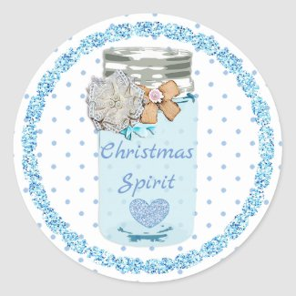 Christmas Spirit Blue Dots Mason Jar Stickers