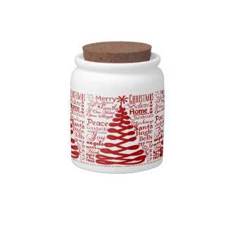Christmas Spirits Abstract Tree W/Text Calligraphy Candy Jar