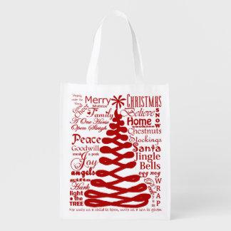 Christmas Spirits Abstract Tree W/Text Calligraphy Reusable Grocery Bag
