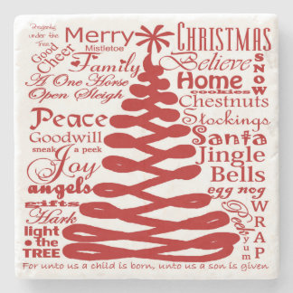 Christmas Spirits Abstract Tree W/Text Calligraphy Stone Coaster