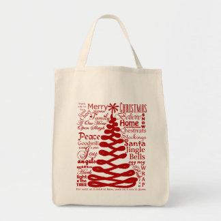 Christmas Spirits Abstract Tree W/Text Calligraphy Tote Bag