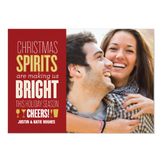 "Christmas Spirits Holiday Photo Card 5"" X 7"" Invitation Card"
