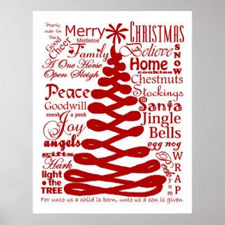 Christmas Spirits Vintage Typography Holiday Decor Poster