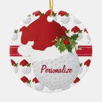 Christmas Sport Golf Ball Santa Hat Ceramic Ornament