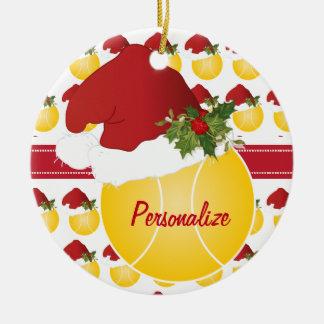 Christmas Sport Tennis Ball Santa Hat Ceramic Ornament