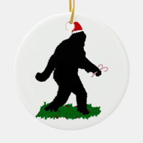 Christmas Squatchin' Ceramic Ornament
