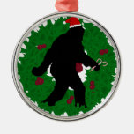 Christmas Squatchin' Round Metal Christmas Ornament