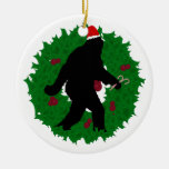Christmas Squatchin' Double-Sided Ceramic Round Christmas Ornament