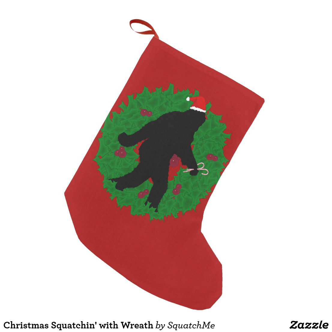Christmas Squatchin' with Wreath Small Christmas Stocking