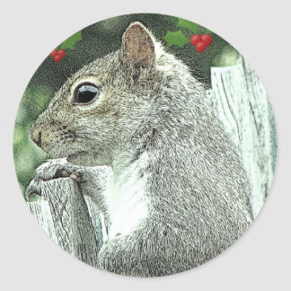 Christmas Squirrel 2010 Classic Round Sticker
