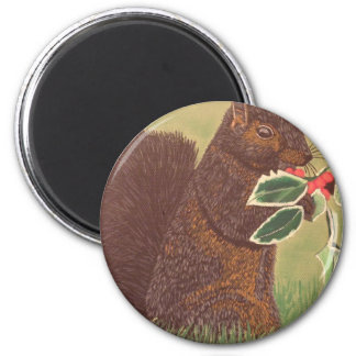 Christmas Squirrel 2 Inch Round Magnet
