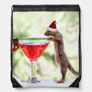 Christmas Squirrel at Happy Hour Drawstring Backpack