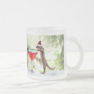 Christmas Squirrel at Happy Hour Frosted Glass Coffee Mug