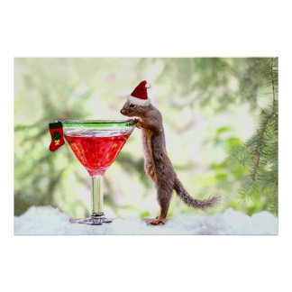 Christmas Squirrel at Happy Hour Print