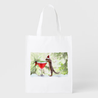 Christmas Squirrel at Happy Hour Reusable Grocery Bag
