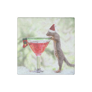Christmas Squirrel at Happy Hour Stone Magnet