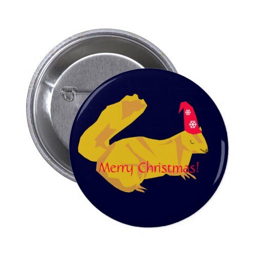 Christmas Squirrel Button