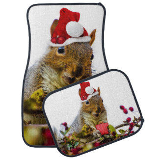 Christmas Squirrel Car Mat