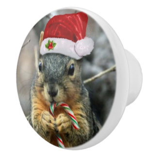 Christmas squirrel ceramic knob