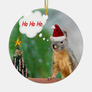 Christmas Squirrel Ceramic Ornament