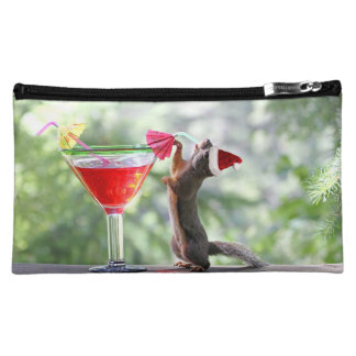 Christmas Squirrel Drinking a Cocktail Cosmetic Bag