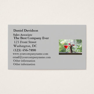 Christmas Squirrel Drinking a Cocktail Business Card