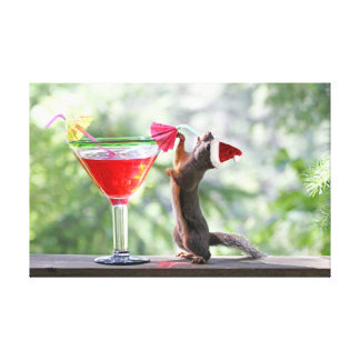 Christmas Squirrel Drinking a Cocktail Canvas Prints