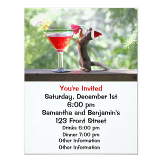 Christmas Squirrel Drinking a Cocktail Card