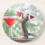 Christmas Squirrel Drinking a Cocktail Beverage Coaster