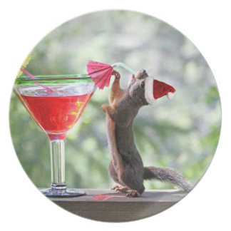 Christmas Squirrel Drinking a Cocktail Dinner Plate