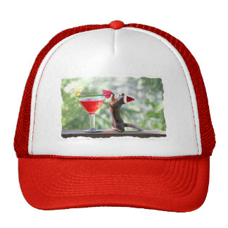 Christmas Squirrel Drinking a Cocktail Trucker Hat