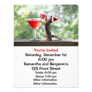 Christmas Squirrel Drinking a Cocktail Personalized Announcement
