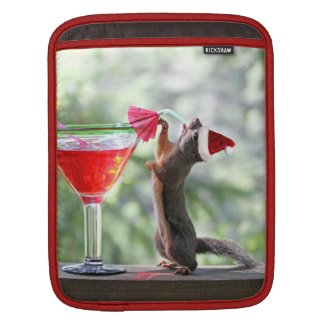 Christmas Squirrel Drinking a Cocktail