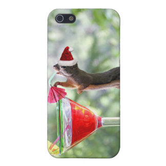 Christmas Squirrel Drinking a Cocktail iPhone 5 Case