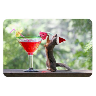 Christmas Squirrel Drinking a Cocktail Magnet