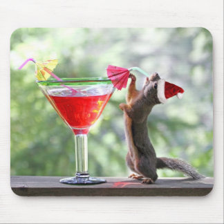 Christmas Squirrel Drinking a Cocktail Mouse Pad