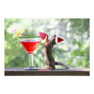 Christmas Squirrel Drinking a Cocktail Photo Print
