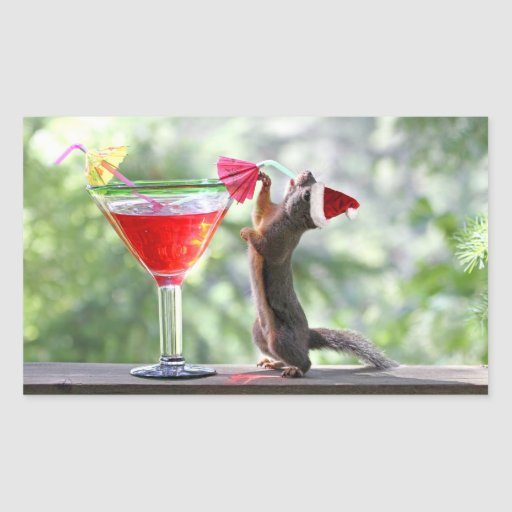 Christmas Squirrel Drinking a Cocktail Rectangular Stickers