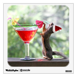 Christmas Squirrel Drinking a Cocktail Wall Decal