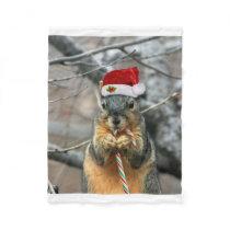 Christmas squirrel fleece blanket