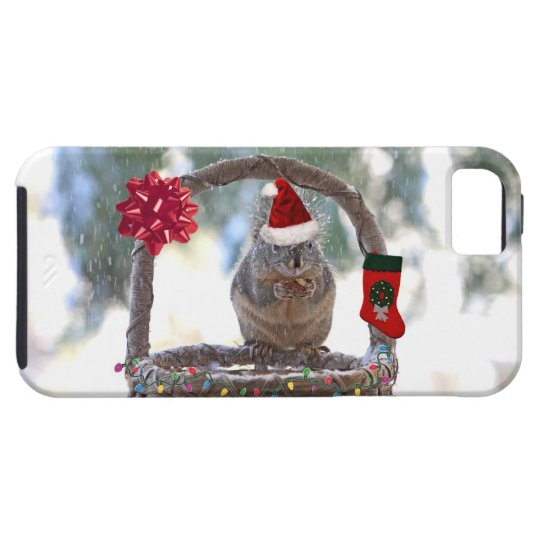 Christmas Squirrel in a Snowy Basket iPhone SE/5/5s Case