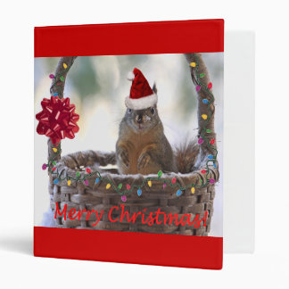 Christmas Squirrel in Basket with Snow 3 Ring Binder