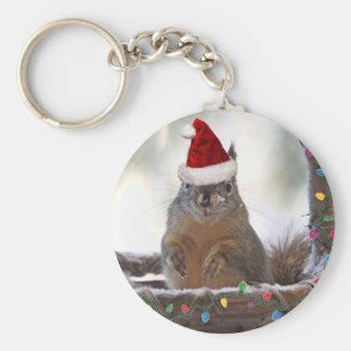 Christmas Squirrel in Basket with Snow Keychains