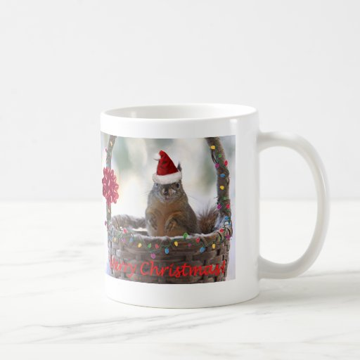 Christmas Squirrel in Basket with Snow Classic White Coffee Mug