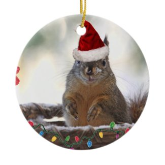 Christmas Squirrel in Basket with Snow ornament