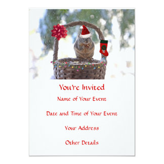 Christmas Squirrel in Snowy Basket 5x7 Paper Invitation Card