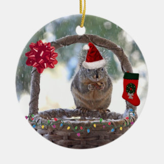 Christmas Squirrel in Snowy Basket Ornament